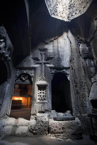 Picture of Geghard monastery (Armenia): Walls with carved out decorations at the mausoleum in Geghard Monastery