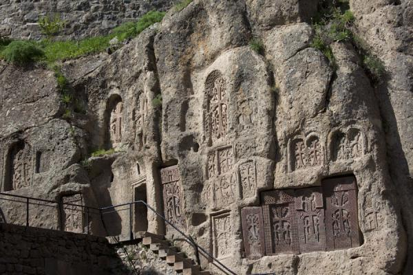 Picture of Stairs leading up to dwellings with khachkars at Geghard Monastery