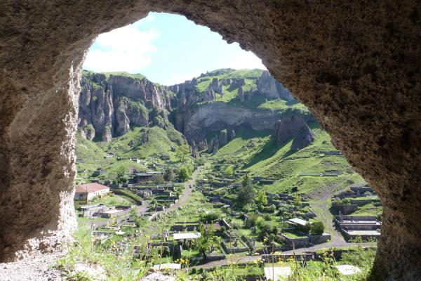 Picture of Goris cave dwellings (Armenia): View towards the mountains from inside one of the cave dwellings