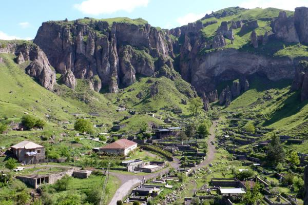 Mountain rising above the outskirts of Goris | Goris cave dwellings | Armenia