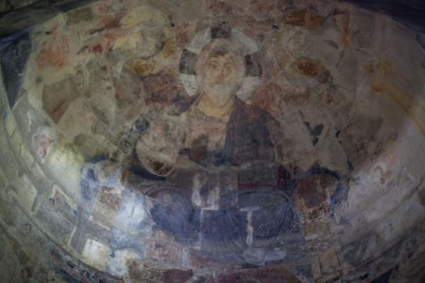 Faint fresco of Christ Pantocrator in the apse of the Church of the Holy Sign of the Cross, at Haghpat Monastery | Haghpat monastery | Armenia
