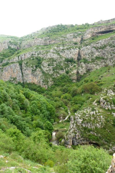 Looking down into Karkar canyon, with old bridge spanning the river visible below | Karkar gorge hike | Armenia