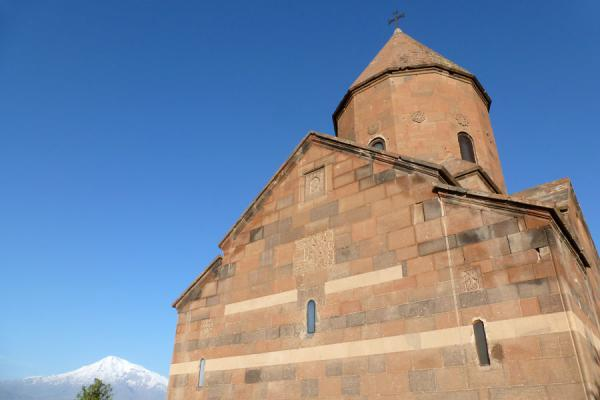Picture of Astvatsatsin church and Mount Ararat in the early morningKhor Virap - Armenia