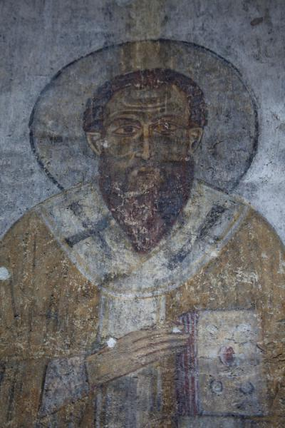 Picture of Kobayr Monastery (Armenia): One of the apostles depicted on frescoes in the apse of Kobayr Monastery