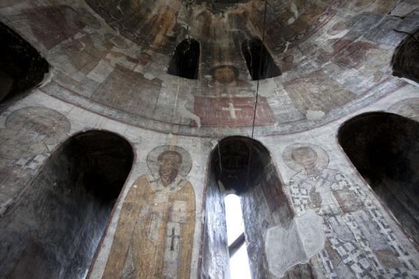 Looking up the apse of Kobayr Monastery with frescoes | Kobayr Monastery | Armenia