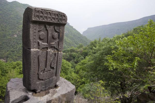 Picture of Kobayr Monastery (Armenia): Lone khachkar on the way to Kobayr Monastery, at the Holy Cross Chapel