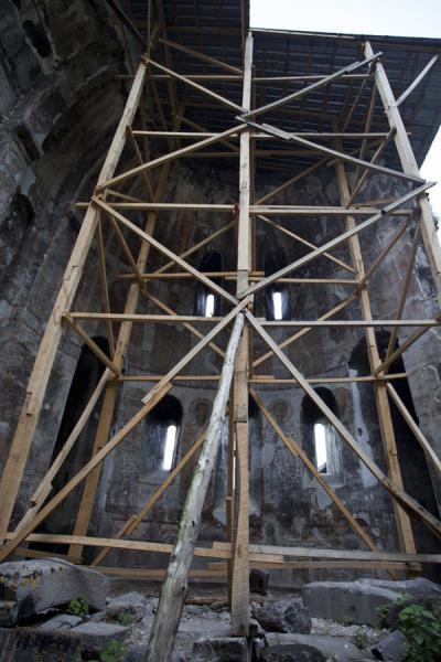 Scaffolding supporting the roof of the church of Kobayr Monastery | Kobayr Monastery | Armenia