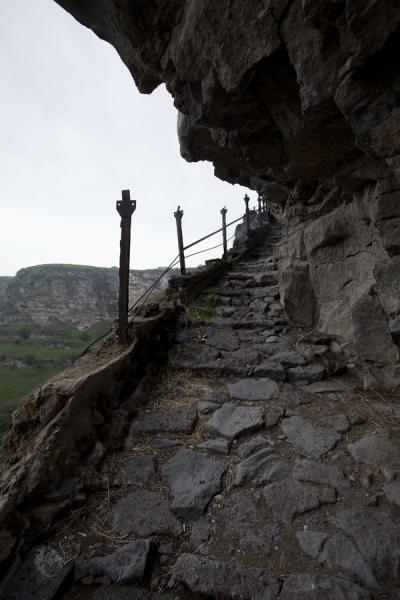 Picture of Kobayr Monastery (Armenia): Stone steps leading down the cliffs into Debed gorge