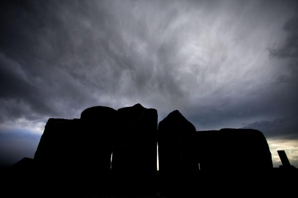 Picture of Row of khachkars contrasting against the setting sunNoratus - Armenia