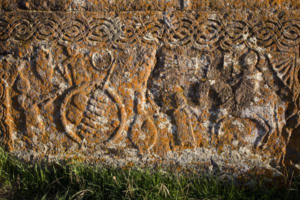Carving in a stone tomb at the cemetery of Noratus | Noratus khachkars | Armenia