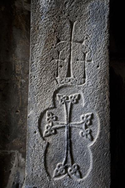 Picture of Sanahin Monastery (Armenia): Finely carved crosses in the Mother of God Church