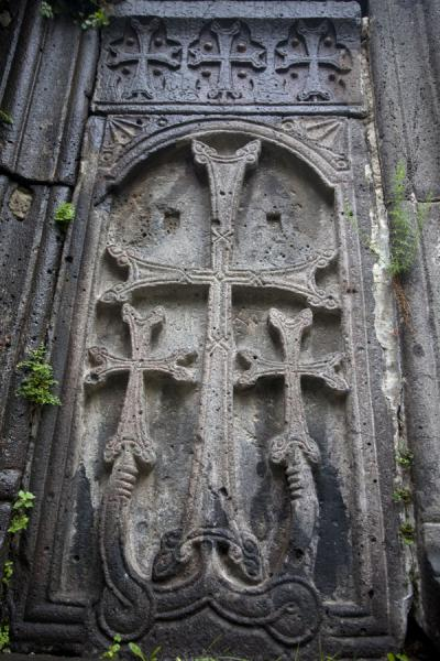 Picture of Sanahin Monastery (Armenia): Carefully carved out khachkars at Sanahin