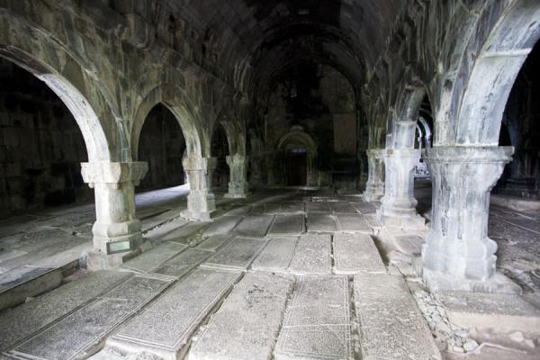 Arched interior of the gavit of the Mother of God church | Sanahin Monastery | Armenia