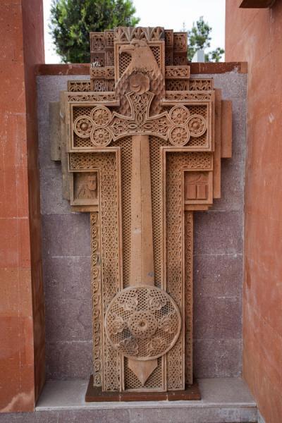Modern khachkar in the modern part of the memorial complex | Stepanakert Memorial Complex | Armenia