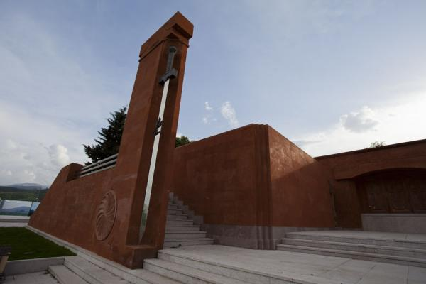 Stairs leading up to the main platform from the section dedicated to the 1990s Karabagh war | Stepanakert Memorial Complex | Armenia