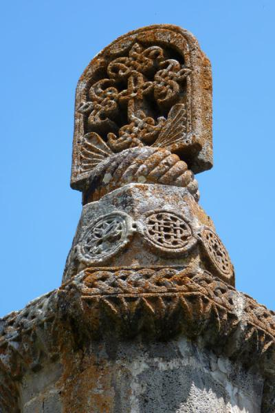 Picture of Carved khachkar on top of Gavazan monument in Tatev Monastery