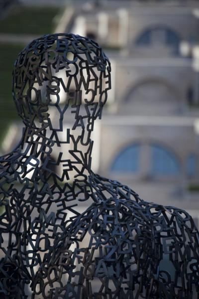 Picture of Jaume Plensa created this sculpture at the foot of the Cascade