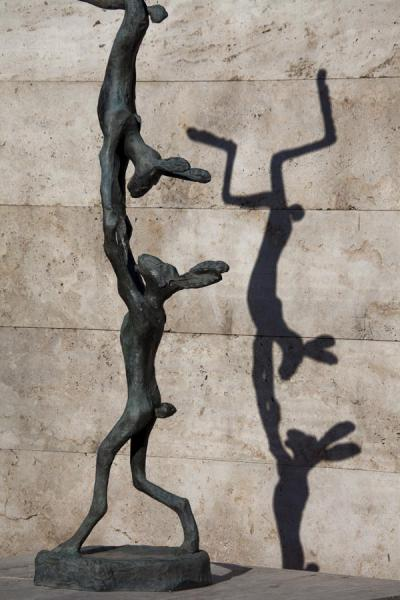 Picture of Two hares performing an acrobatic act, bronze by Barry Flanagan