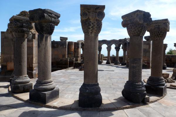 Picture of Zvartnots Cathedral (Armenia): Circle of columns, the restored part of Zvartnots Cathedral