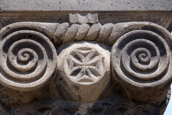 Detail of column with cross at the reconstructed part of Zvartnots Cathedral | Cattedrale di Zvartnots | Armenia