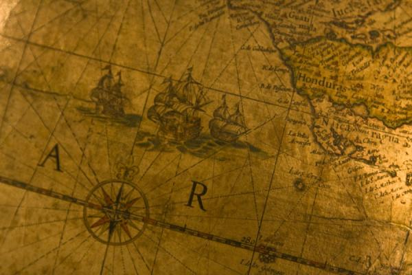 Picture of Ships on the Pacific near Central America depicted on an old globe in the museum