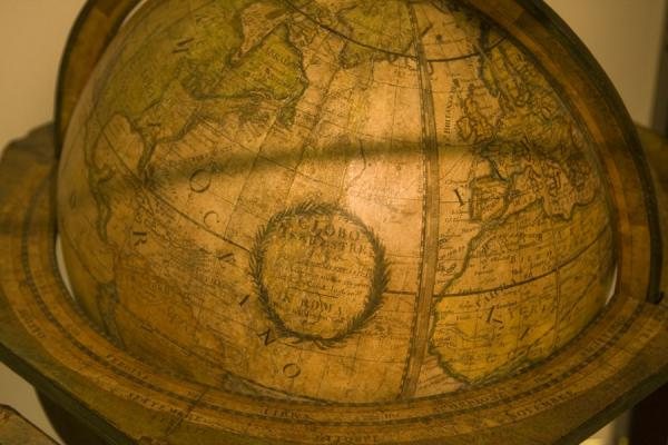 Picture of Globe museum (Austria): One of the old globes resting in a wooden frame