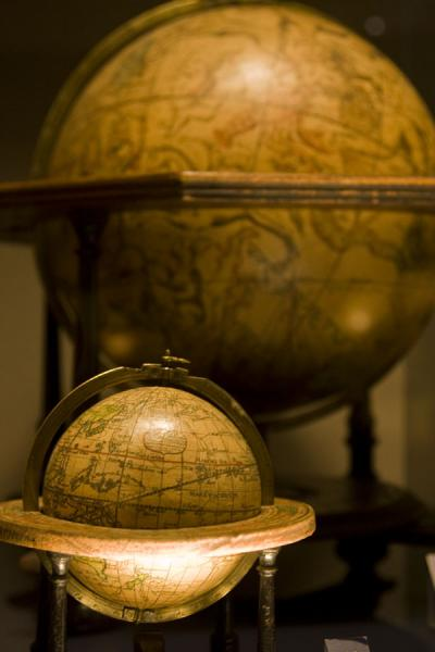 Picture of Two of the old globes on display in the museum