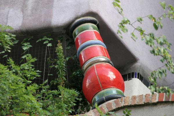 One of the many columns in the Hundertwasserhaus | Hundertwasser Haus | Austria
