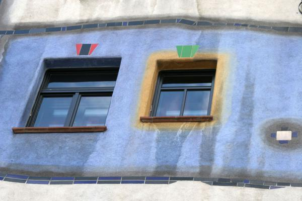 Close-up of windows in the Hundertwasserhaus | Hundertwasser Haus | Austria