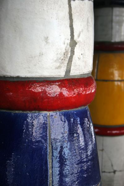 Picture of Hundertwasser Haus (Austria): Hundertwasserhaus: close-up of colourful columns