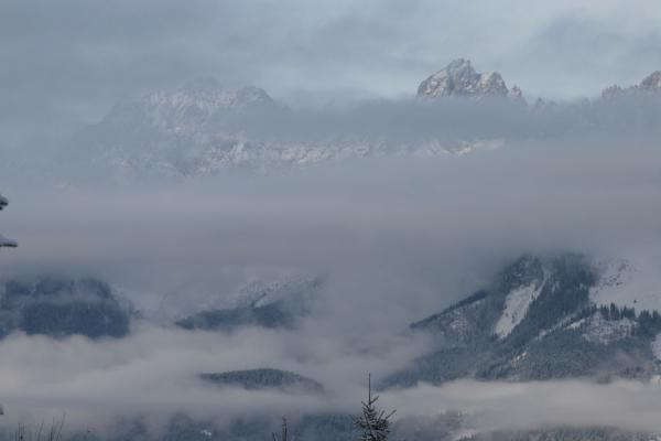 Kaiser mountains covered in clouds | St. Johann Skiing | Austria