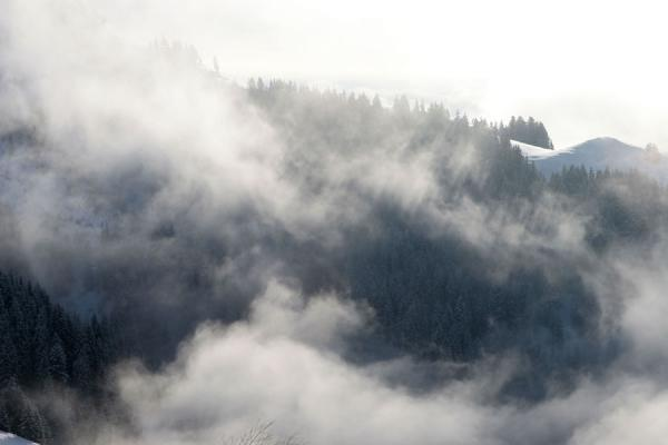 Foto van Clouds drifting over the trees on the slopes of St. JohannSt. Johann - Oostenrijk