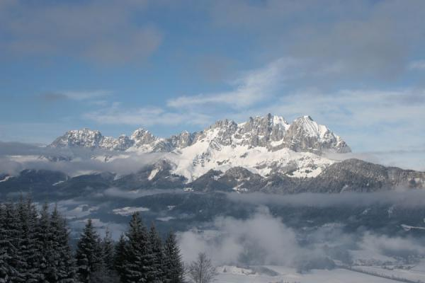 View of the Kaiser mountains in the afternoon | St. Johann Skiing | Austria