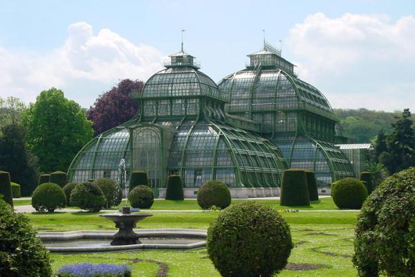 Part of the gardens with hothouse in the background | Schönbrunn Palace | Austria