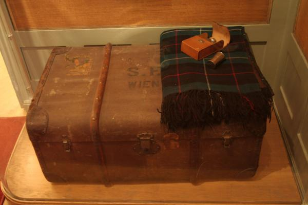 One of the suitcases of Sigmund Freud; note the initials S.F. | Sigmund Freud Museum | Austria