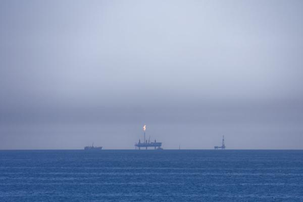 Oil platforms in the middle of the Caspian Sea | Baku-Turkmenbashy Ferry | Azerbaijan