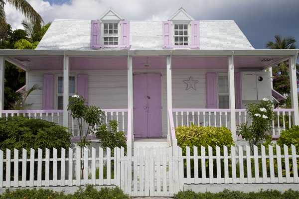 Pink and white traditional wooden house in Dunmore Town | Dunmore Town | Bahamas