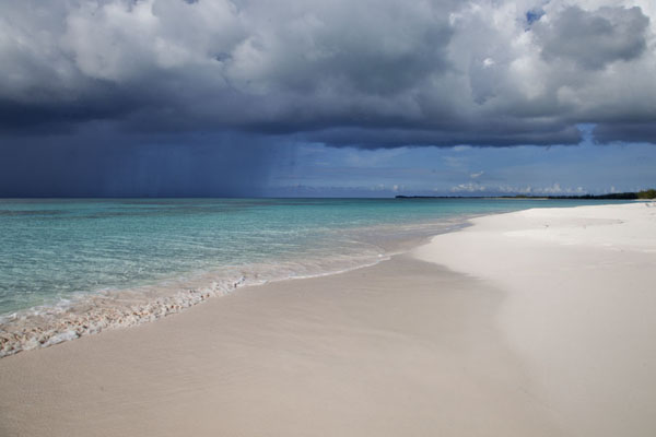 Picture of White beach with turquoise sea and dark sky at Man o War Point