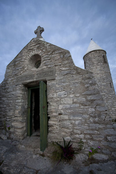 Picture of The entrance to the tiny church of the hermitage of Mount AlverniaMount Alvernia - Bahamas