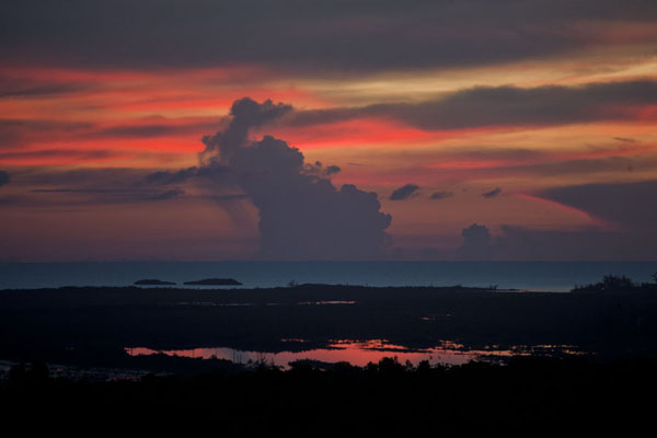 Picture of Sunset over one of the inner lakes of Cat Island seen from Mount AlverniaMount Alvernia - Bahamas