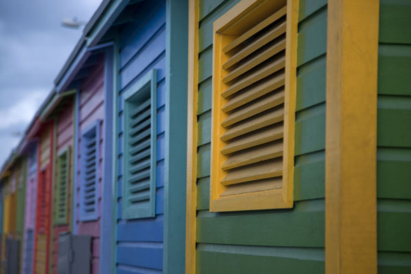 Picture of Brightly painted wooden houses in the harbour of Nassau