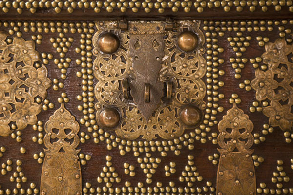 Picture of Richly decorated suitcase on display in the National Museum