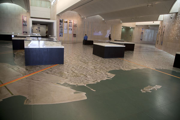 The main hall of the museum with a map of Bahrain on the floor | Bahrain National Museum | Bahrain