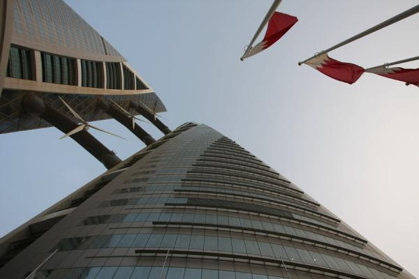 Picture of Bahrain World Trade Center (Bahrain): Looking up the World Trade Center with wind turbines