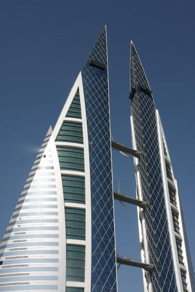 Glass and steel towers of the World Trade Center | Bahrain World Trade Center | Bahrain