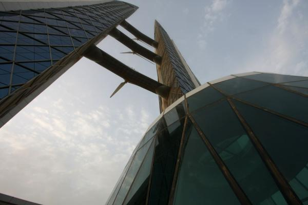 Looking up to the sky with the World Trade Center | Bahrain World Trade Center | Bahrain