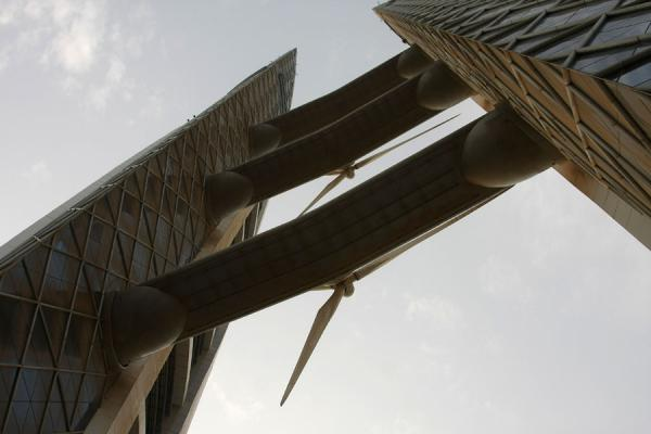 Twin towers with turbine blades seen from below | Bahrain World Trade Center | Bahrain