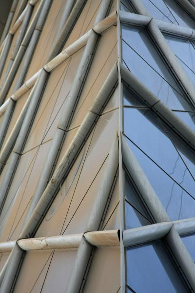 Picture of Bahrain World Trade Center (Bahrain): Windows with sand on one of the World Trade Center towers