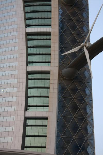 One of the towers with one of the turbine blades | Bahrain World Trade Center | Bahrain