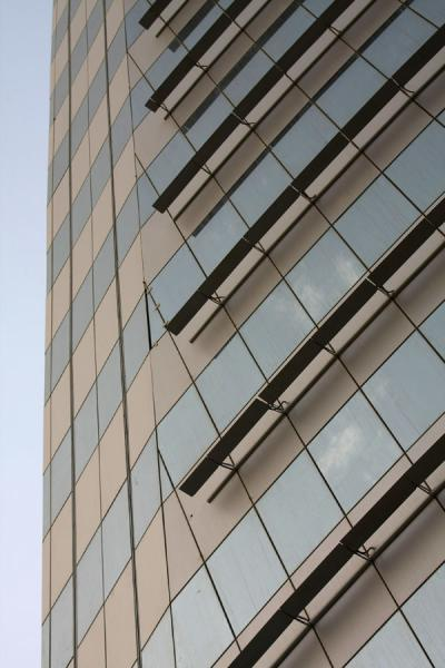 Picture of Bahrain World Trade Center (Bahrain): Close-up of one side of one of the towers of the World Trade Center